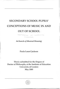 Secondary school pupils, conceptions of music in and out of