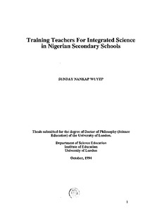 Training teachers for integrated science in Nigerian secondary