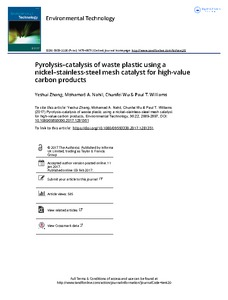 Pyrolysis–catalysis of waste plastic using a nickel–stainless-steel