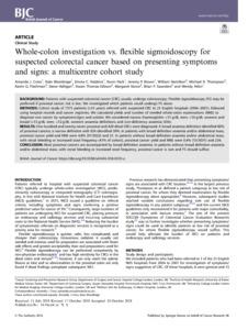 Whole-colon investigation vs  flexible sigmoidoscopy for
