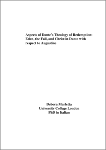 Aspects of Dante's theology of redemption: Eden, the Fall, and