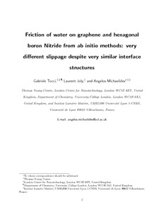 Friction of water on graphene and hexagonal boron nitride