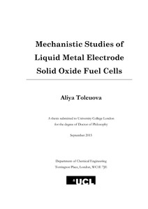 Mechanistic Studies of Liquid Metal Electrode Solid Oxide