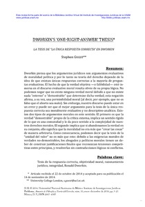 Ronald Dworkin's Right Answer Thesis
