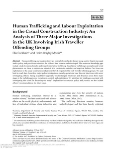 Human trafficking and labour exploitation in the casual construction