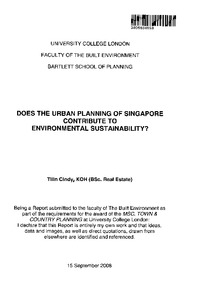 Does the urban planning of Singapore contribute to environmental