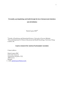 Personality Psychopathology And Health Through The Lens Of