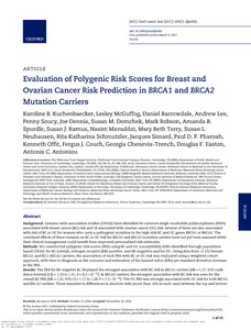 Evaluation Of Polygenic Risk Scores For Breast And Ovarian Cancer Risk Prediction In Brca1 And Brca2 Mutation Carriers Ucl Discovery
